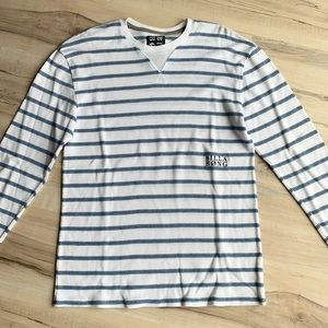 Billabong Thermal Crew Neck Shirt White/Blue Stripes Size Small